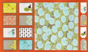 Moda Bluebird Park  - 2873 -  Cushion & Bunting Panel on Tangerine Background 13100-14 Cotton Fabric